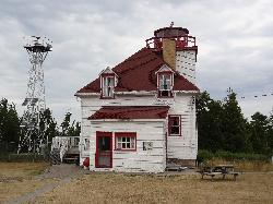 Shows the old and new light stations.  The original lighthouse went into operation in 1896.  The existing tower was built in 1968.