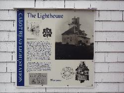 A sign posted on the original Cabot Head Lighhouse describing the history of the Cabot Head Light Station.  Located near Tobermory Ontario.