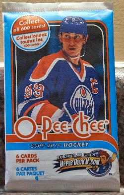 This is the main version of the O-Pee-Chee 2009-2010 card wrapper.  The package cover pictures Wayne Gretzky from the Edmonton Oilers.