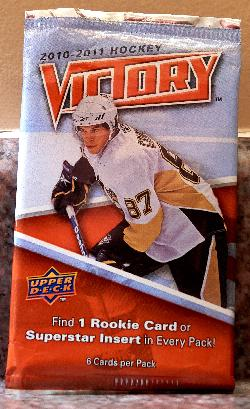 This is the main version of the Upper Deck Victory 2010-2011 card wrapper.  The package cover picture Sidney Crosby from the Pittsburgh Penguins.