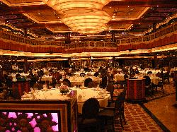 A view into the Posh Aft Dining Room on the Carnival Freedom cruise ship.