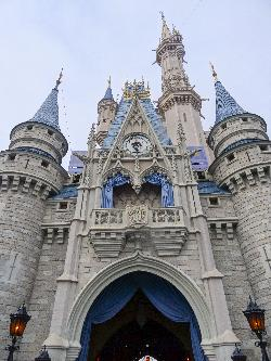 A closer up photo of Cinderella Castle at Magic Kingdom, near Orlandp Florida.