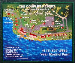 A photo of the facilities site map of the Couples Resort  in Whitney Ontario, just on the edge of Algonquin Park.  Shows the location of all the cabins and recreational areas.