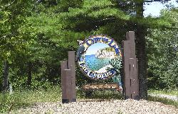 Entrance sign for Cyprus Lake Campground at Bruce Peninsula National Park near Tobermory Ontario