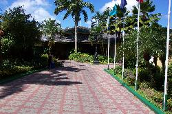 The walking path to the main lobby at Sandals Halcyon Beach Resort.