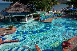 Looking down at the main pool at the Sandals Halcyon Beach Resort in St. Lucia