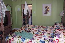 View of room in Garden section of Sandals Halcyon Beach Resort in St. Lucia. King size bed.