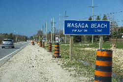 Wasaga Beach Population Sign on Highway 26 Westbound