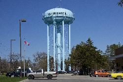 Full height view of water tower in Collingwood Ontario Canada.