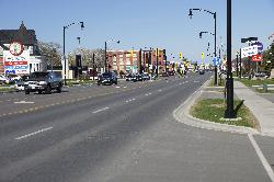 Eastward facing view of 1st Street at Spruce Street in Collingwood Ontario Canada.  This street is also known as Highway 26.