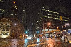 Nightshot of Yonge Street Toronto at Front Street
