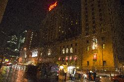 Evening photo of Fairmont Royal York Hotel in Toronto.  Hotel was under some facade reconstruction.