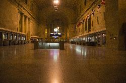 Photo inside the Toronto Union Railway Station, taken in evening without any patrons present.