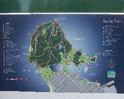 This is the layout of Stanley Park, as shown from a sign post within the park.  Stanley park is in Vancouver British Columnbia, Canada.