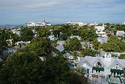 A view of the harbor andd cruise ships from the lighthouse in Key West Florida.