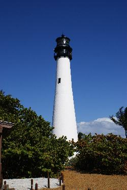 Photo of the Cape Florida Lighthouse, land view. Located in Bill Baggs State Park on Key Biscayne Island.