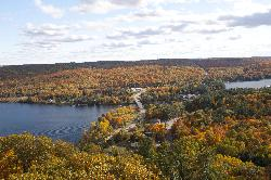 View from Dorset Lookout Tower of the leaves on the trees turning to fall colours.