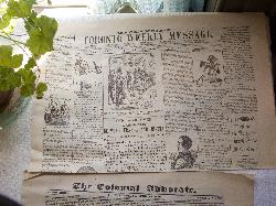 The cover of the July 30 1859 copy of Mackenzies Toronto Weekly Message Newspaper.  This newspaper resides at Black Creek Pioneer Village in Toronto.  It contains story declaring peace between Franc and Russia.