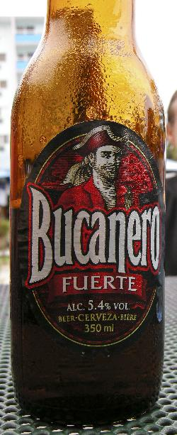 Photo of a Bucanero beer bottle.  Taken while relaxing at the market in Varadero.