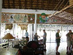 View from inside the lobby at Sandals Hicacos in Varadero Cuba.  Paintings include Fidel Castro.