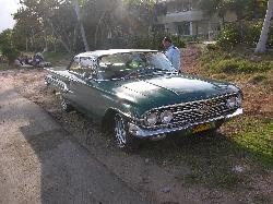 Photo of 1960 Chevy Impala Coupe.  Car was along a street in Varadero Cuba.