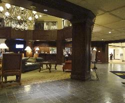 Inside Deerhurst Resort main lobby.  Reception can be seen in the background.