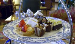 The top plate at the Afternoon Tea had various desserts on it.  At the Fairmont Empress Hotel in Victoria British Columbia.