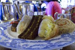 The lower plate at the Afternoon Tea had various small sandwishes on it.  At the Fairmont Empress Hotel in Victoria British Columbia.
