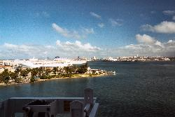 A view of the San Juan coastline in 2002, as the Explorer of the Seas cruise ship is departing.  Scanned from a negative.