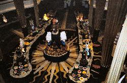 The midnight buffet in the main dining room oboard the Explorer of the Seas.