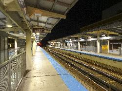 Evening photo at Fullerton Station along red line of the Chicago Transit Authority.
