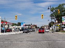 Gravenhurst at the intersection of Phillip Street and Muskoka Road looking North.