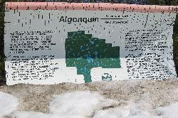 Entrance sign for Algonquin Park in Ontario Canada.  Also, describes that the park was established in 1893.