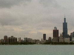 Chicago skyline from the harbour cruise boat.  The Chicago Hilton (left) and Sears Tower (right) are in photo.