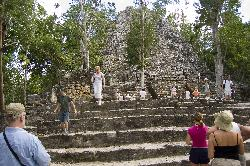 The pyramid known as Templo de la Iglesia, Temple of the Church, is second in height at Cobá and from its summit there is a spectacular view of lake Macanxoc.