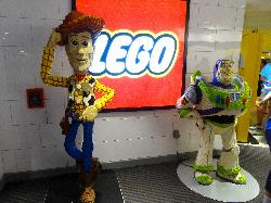 Life size LEGO figures of Buzz Lightyear and Woody.  Located at the Lego Store in Disney Springs Florida. Photo taken in 2019.