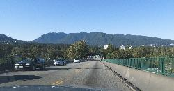 View of Grouse Mountain from the Lions Gate Bridge