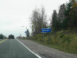 The Maynooth limits and welcome sign.  Travelling south along Highway 127.   The community of Maynooth is located in Hastings County.