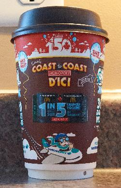 McDonalds Monopoly Medium Coffee Cup - front - 2017