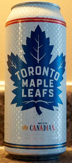 This is a photo of a Molson Canadian Tall Boy can.  A logo of the Toronto Maple Leads is imprinted on the can.  Distributed in Ontario Canada.  Purchased in an LCBO outlet.
