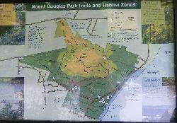 Map showing all trails and habitat zones for Mount Douglas Park.  In Gordon Head, near Victoria British Columbia.