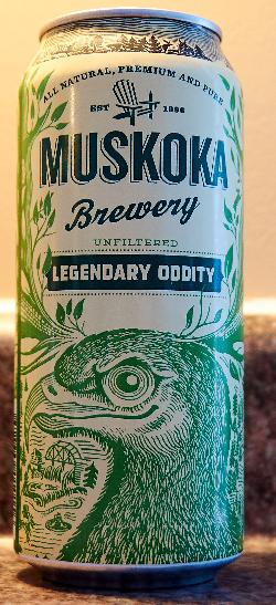 Front view of Legendary Oddity beer can.  Brewed as a Belgian Style beer by Muskoka Brewery.  Produced in 2017.