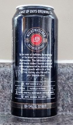 The rear view of beer can for Nightwatcher Oatmeal Stout beer, brewed by Great Lakes Brewery. Inscription includes: In the cover of darkness, the mysteries of the forest are revealed to the Nightwatcher.