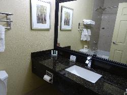 Room 125 at the Quality Inn in Bracebridge. A view of bathroom using the mirror to see more expansive view.