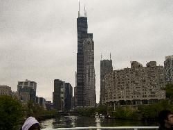 Photo of the Chicago Sears Tower from the Chicago River Boat tour.