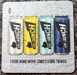 A back of the beer coaster from Side Launch Brewing Company.  This 2017 version has a the slogan 'From hard works comes good things'.  Pictures are the flavours Pale Ale, Wheat, Dark Lager and Mountain Lager.