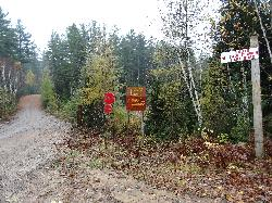Sign in Algonquin Park showing intersection at South Cauliflower Lake Road and Hay Lake Road.  Located in Ontario Canada.
