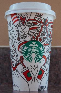 The front side of the starbucks medium coffee cup celebrating Christmas in 2017. Purchased in Ontario.  Contains various artistic drawings of Christmas related activites.