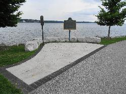 This photo show two plaques erected along Kempenfelt Bay.  These plaques are dedicated to Steamboat J.C. Morrison and the 'Sir John Colborne'.