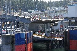 Photo of the Swartz Bay Terminal on Vancouver Island.  Taken from BC Ferries boat, as it is approaching the dock.